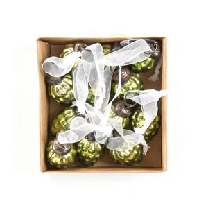 Coffret de 12 pommes de pin à suspendre vertes 3 cm 622537