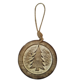Disque en bois naturel à suspendre motif sapin Ø 10 cm 622542