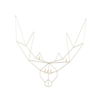 Porte carte en forme de tête de cerf en métal or 58x0,5x58 cm 622745