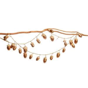 Guirlande décorative avec glands bruns pailletés 3x3x110 cm 622778