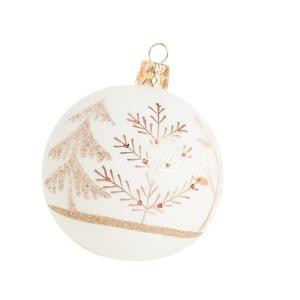 Boule de Noël en verre blanc avec motifs sapins dorés Ø 7 cm 623043