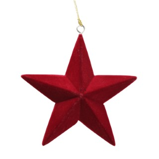 Étoile de Noël à suspendre en velours rouge 11x3x11 cm 623505