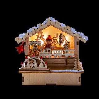 Chalet Marché de Noël Enneigé Led 3/ 11x11,5x7 cm 624201