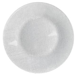 Assiette de présentation Lin en verre pailleté argent Ø 33 cm 634997