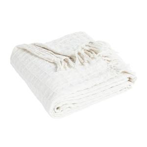 Plaid Waffle coton blanc 130x180 cm 635390