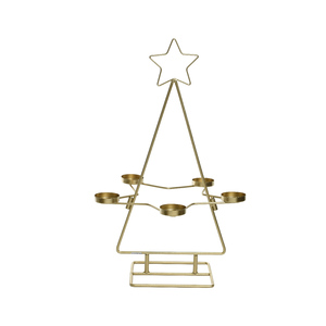 Bougeoir doré en forme de sapin 31 x 31 x 50 cm 640604