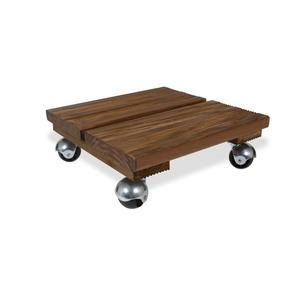 Roule plante en bois modèle petit carré marron 30 x 30 cm 641135