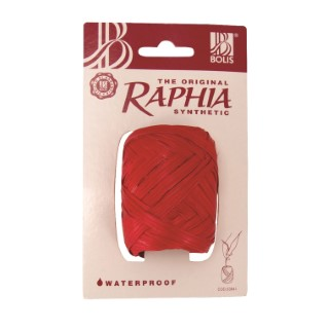 Raphia synthétique rouge - 13 mm x 20 m 411782
