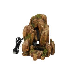 Fontaine à sable ocre en polyrésine avec leds 18,5x15,7xH21,5 cm 645358