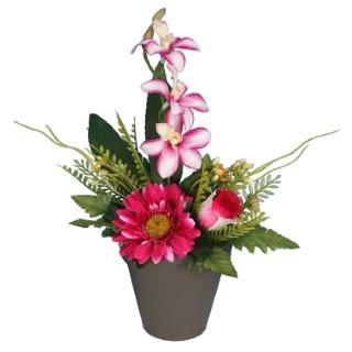 Pot gerbera orchidée bouton de rose 649875