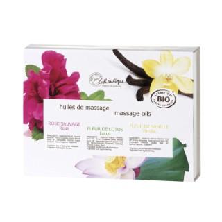 Coffret 3 Huiles de massage bio flacon 3 x 30 ml blanc 651143