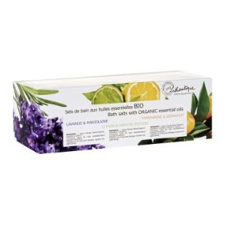 Coffret de 3 pots de sels de bain aux huiles essentielles bio 3 x 200g 651145