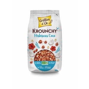 Céréales Krounchy Hibiscus noix de coco bio en sachet de 500 g 651909