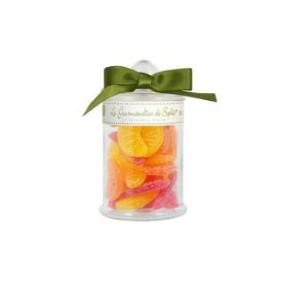 Bonbonnière en verre avec quartiers de fruits petit modèle 90 g 652086
