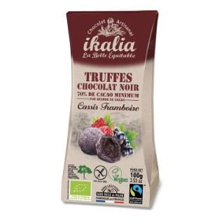 Truffes vegan chocolat noir fourrage cassis framboise ballotin 100 g 652133