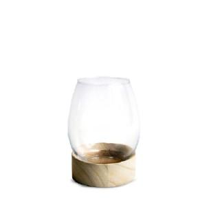 Vase tulipe wood transparent taille M Ø 14 x H 18,5 cm 652379