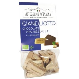 Bonbons pralinés bio au chocolat au lait en sachet de 100 g 653031