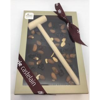 Plaque à casser chocolat noir bio aux amandes et griottes 400 g 653042