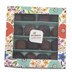 Balloboite fleurie de 16 bonbons au chocolat noir et lait bio 160 g 653043