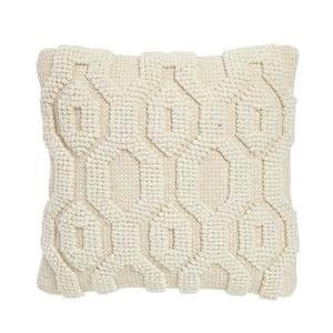 Coussin Alison beige en polyester à motifs tricot en relief 50x50 cm 655717