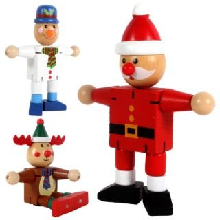 Personnage de Noël articulé en bois modèles assortis 9,8x3,8x12,5 cm 657457
