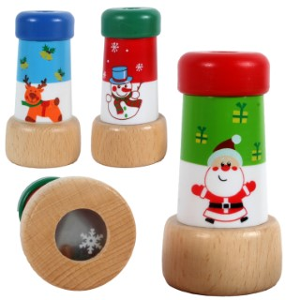 Kaléidoscope de Noël en bois peint coloris assortis Ø 4,4 x H 8,3 cm 657459