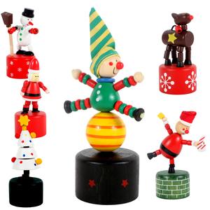 Marionnette de Noël en bois à poussoir Ø 4,6 x H 11 cm 657462
