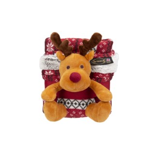 Plaid de Noël Scruffs rouge avec jouet 110 x 72 cm 658357