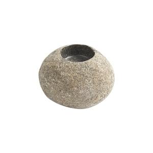 Galet pour bougie rond en pierre naturelle coloris gris 12 x 8 x 6 cm 659283