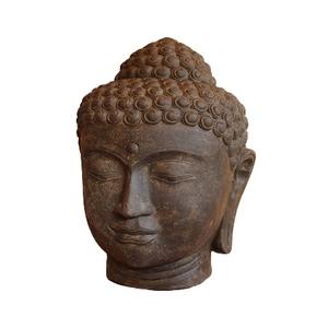 Statue tête de Bouddha en pierre reconstituée coloris noir 50 cm 659288