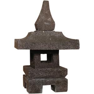 Lanterne de jardin en pierre reconstituée coloris noir 35 cm 659289