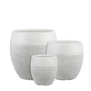 Pot Zembla rond coloris blanc cassé Ø 34 x H 34 cm 659589