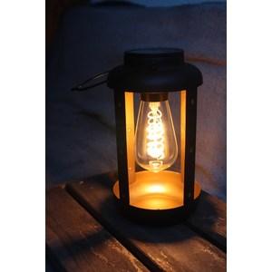 Lanterne solaire en métal noir à LED blanc chaud 40 lumens H 25 cm 659607