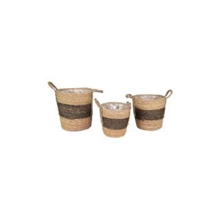 Pot cylindrique marron et noir - Ø 24x25 cm 659923