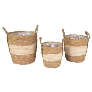 Pot cylindrique marron et beige - Ø 24x25 cm 659926