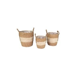 Pot cylindrique marron et beige - Ø 29x30 cm 659927