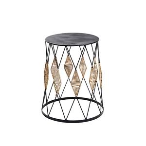 Table d'appoint motifs losanges en rotin Ø40x H50 cm 660394