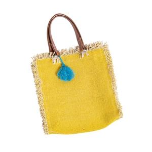 Sac en coton frangé jaune avec anse en cuir GM 42x35x9 cm 660432