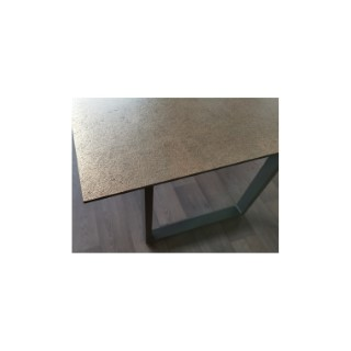 Table pieds en U Stern en alu anthracite & HPL coloris ferro 200 x 100 cm 660790
