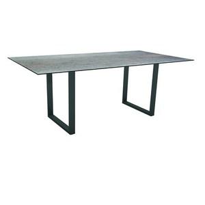 Table pieds en U Stern en alu anthracite & HPL coloris smoky 200 x 100 cm 660792