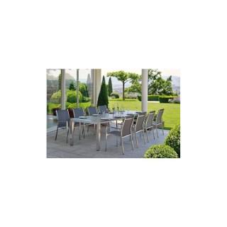 Table extensible Stern inox & HPL coloris ferro 174/214/254 x 90 cm 660800