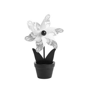 Moulin à vent noir blanc en pot 4,5 x 8 x H 15 cm 661445