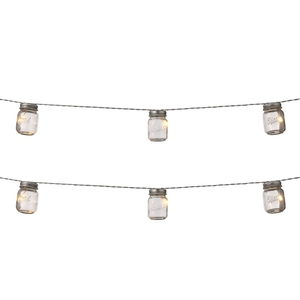 Guirlande lumineuse de 6 bocaux verre à LED blanc chaud 13,5x5x18,5 cm 661470