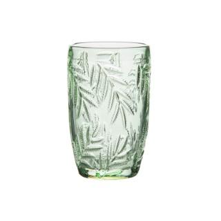 Gobelet à eau GM en verre avec motif feuillage vert Ø 7,5 x H 12,5 cm 661587
