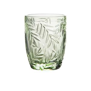 Gobelet à eau PM en verre avec motif feuillage vert Ø 8 x H 10 cm 661597