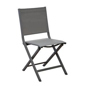 Chaise pliante Max en aluminium anthracite 90 x 45 x 52 cm 661792