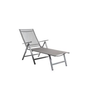 Bain de soleil pliant gris en aluminium et textilène 136 x 74 x 107 cm 661809
