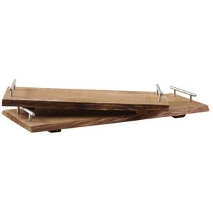 Plateau bois anses métal 58x26x3,5-6,5 cm T2 661938