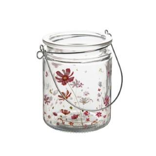 Photophore Cosmea en verre à motifs fleuris rose orangé Ø 8 x H 10 cm 662010