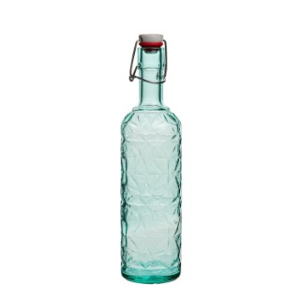 Bouteille Oriente 1 L en verre vert bleuté H 35 x Ø 8,5 cm 662137